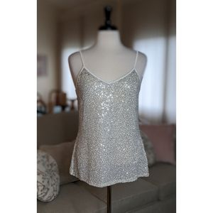 NWOT-EXPRESS White Sequined Adjustable Strap Tank
